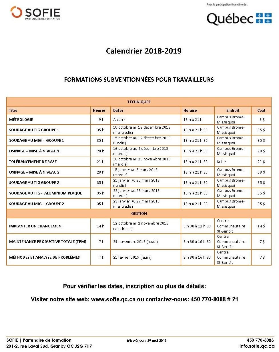 Calendrier formations  2018-19