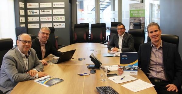 Les deux coprésidents de Granby Industriel, M. Éric Nadeau et M. Jocelyn Dupuis ainsi que M. Patrick St-Laurent, directeur général et M. Éric Tessier, directeur développement industriel
