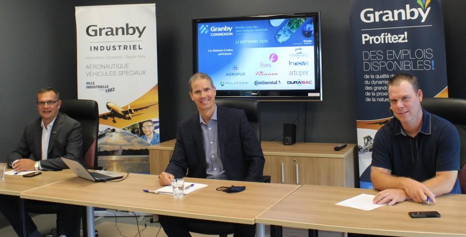 Éric Tessier, directeur développement industriel, Patrick St-Laurent, directeur général, Granby Industriel et Richard Landreville de Castorea.
